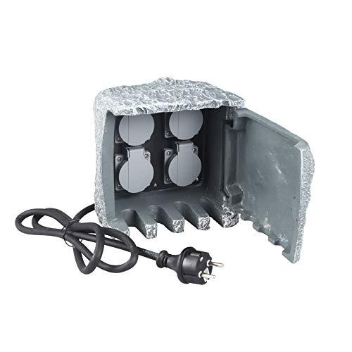 VARILANDO® Steckdosen-Versteck mit 4 Steckdosen in grauer Natursteinoptik Outdoor-Steckdosen