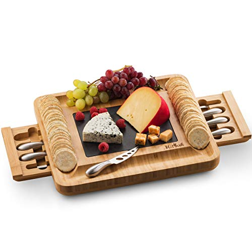 Mitbak Cheese Board Tray with 12 Cheese Utensils | Bamboo Charcuterie Board Serving Tray | Cutting Board Platter Great Gift For Christmas, Anniversary, Bridal Shower, Wedding | 16 x 13 x 2 Inches