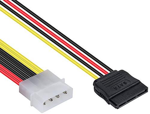 Poppstar - 10 cm Sata 3 Adaptador de Corriente Y-Cable (Enchufe Molex de 4 Pines a Conector Sata de 15 Pines)