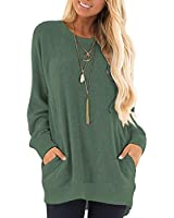 MISFAY Womens Casual Long Sleeve Round Neck Pocket T Shirts Blouses Tunic Sweatshirt Tops with Pocket (S, Green)