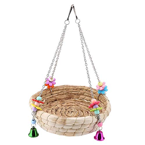 Vogelnest Bett Straw Nest Natur handgewebte Stroh Nest Bett-Schaukel Spielzeug mit 4 Metallglocken Spielzeug für Wellensittiche Nymphensittich Papageien Sittiche Käfig Spielzeug