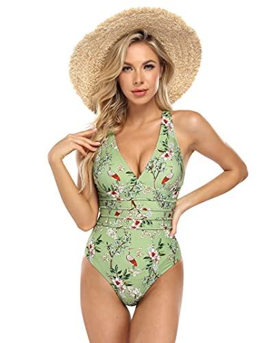 Damen Einteilige Schwimmanzug Schwimmrock Rock Rüschen Retro Badeanzug Baderock Bottom Slip Polsterung Bikini Tankin