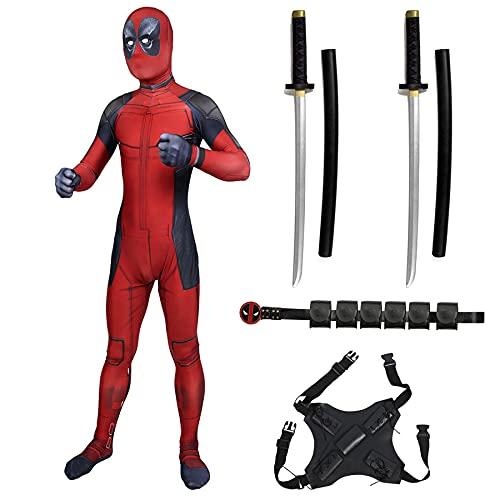 MYYLY Cosplay Deadpool Disfraz Cinturón Onesies PU Accesorios Espada Doble Mono Niño Adulto Traje Disfrazado Regalo Cumpleaños Navidad Leotardo Fiesta Juguete Mono,Red-XS Kids(95~115CM)