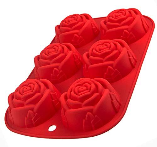 Silikonform mit Rosen, 6 Blumen, Muffinform, Backform für Muffins, 24,5 x 16 x 3,5cm, Cupcake, riesige Eiswürfel, Bowle, Valentinstag, Liebe, Hochzeit, Farbe: Rot