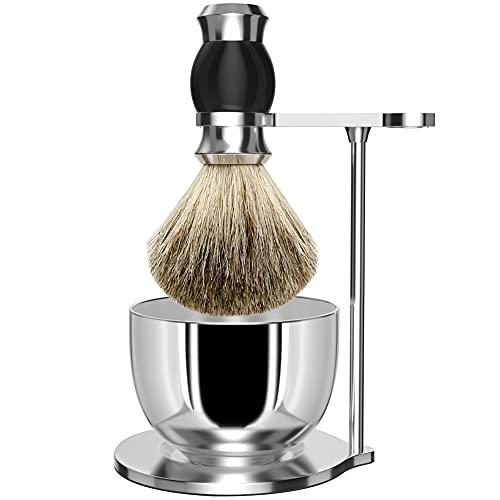 Set di spazzole da barba GRUTTI Premium, rasoio di lusso e set di spazzole per sapone e ciotola Set di rasatura per capelli set da barba e tasso per uomo-nero