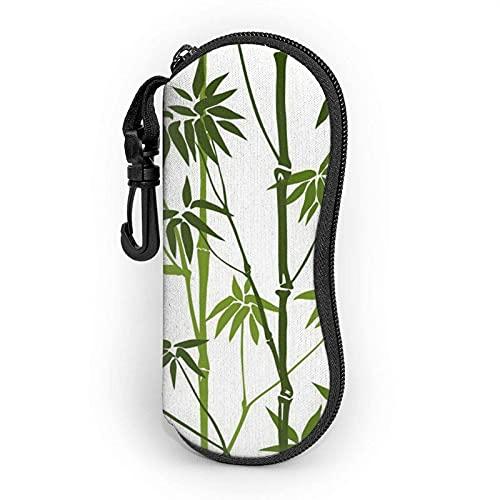 lymknumb Green Bamboo Print - Funda para gafas de sol (neopreno, ultraligera, con cremallera)