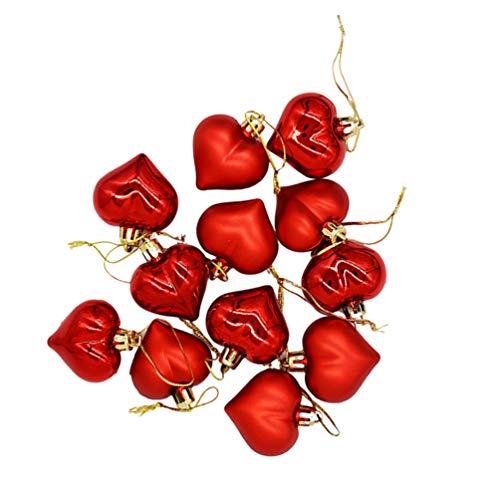 VORCOOL 12Pcs Decorazioni Natalizie Ciondolo Piccolo Albero di Natale Palla a Forma di Cuore Ciondolo Albero di Natale per Albero di Natale Hotel Casa (Rosso)