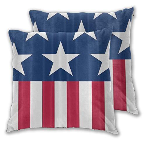 MUYIXUAN Federe Cuscino 45x45cm,2 Pezzi Bandiera Americana patriottica Decorativo per Auto Sofà Divano Ufficio Salotto Home Decor