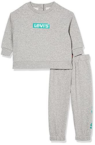 Levi's kids Lvb Knit Crew Jogger Set Pantaln Deportivo, Gris, 9 Meses Bebé-Niños