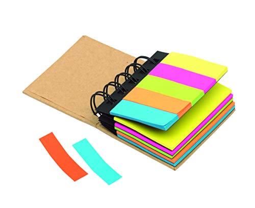 2 Stück Mini Ringbuch aus recyclebaren Materialien Haftnotizen und Markierer Box Multi Memo Notizblock Portfolio 5 Farben