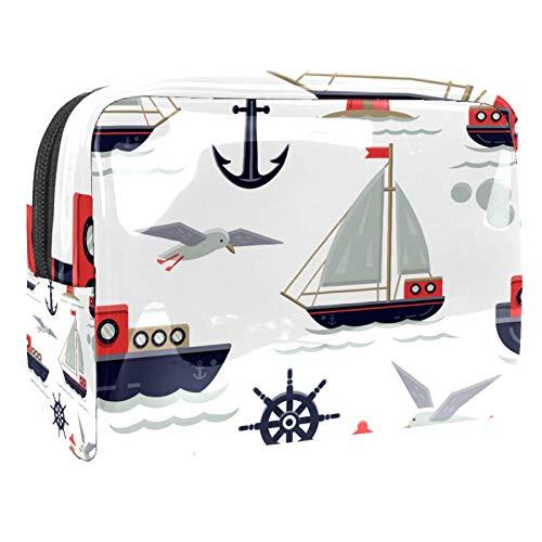 Bolsa de maquillaje de PVC con cremallera, bolsa de aseo impermeable para cosméticos con ancla, barcos de vela, gaviota, para mujeres y niñas