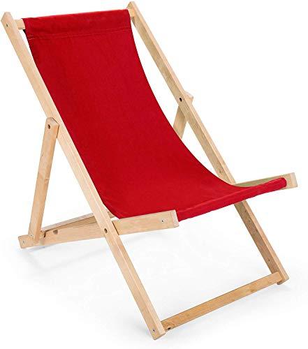 BAS 2 x Liegestuhl aus Holz Klappbar Holzklappstuhl Relaxliege Gartenliege Strandstuhl (Rot)