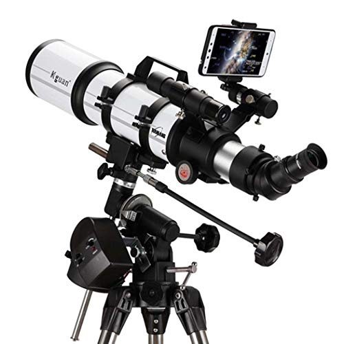 Espacio profundo profesional, telescopio para niños adultos principiantes de astronomía, telescopio refractor para astronomía, telescopio portátil de viaje con trípode, película verde multicapa,80AZ