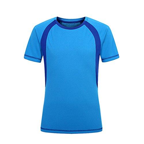 CIKRILAN Homme Col Rond Manches Courtes Quick Dry Wicking T-Shirt été Respirant Outdoor Sport Course Randonnée Tee Tops (Large, Bleu)