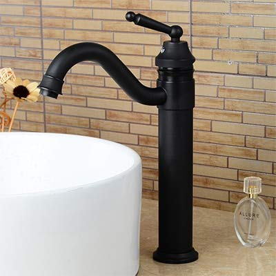 Vintage Estilo Bronce Negro Baño Grifos de lavabo Montado en cubierta Vaso alto Grifo de lavabo Grifos mezcladores de agua fría y caliente ML5002H