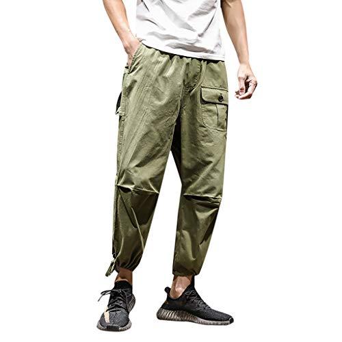 Pantalones de hombre Sunnymi® Hip Hop Terry de estilo moderno y casero, pantalones harén. Verde militar. 80 EU
