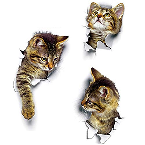 IWILCS 3D Katzen Wandtattoo, 3 PCS Wandsticker, Kombination Wandaufkleber, WC-Aufkleber, Wasserdichte Kühlschrankaufkleber, Türaufkleber, Küche Wand Dekor, Kinderzimmer Schlafzimmer Wandtattoo