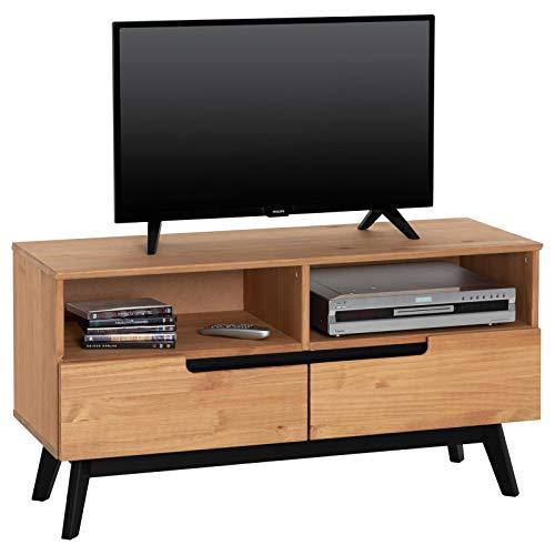 IDIMEX Lowboard Tibor, TV Möbel Fersehschrank Fernsehtisch HiFi Möbel im nordisch skandinavischer Stil, mit 2 Schubladen und 2 offenen Fächer, Kiefer massiv, in braun gebeizt