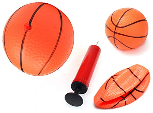 PowerTRC 3 x Inflatable Magic Shot Mini Hoop Indoors Orange Basketball with Pump Boys Mini Sports Ball Toy for Kids Aged 3-7 Years Old