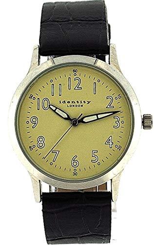 IDENTITY LONDON Einfache Herren Armbanduhr mit beigefarbenem Ziffernblatt, lumineszierenden Zeigern und PU Armband AN73