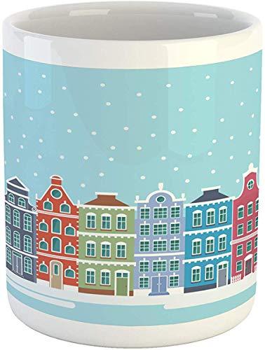 Koffiemok 11 oz Thee Beker, Amsterdam Mok, Illustratie van Leuke Sneeuwstad Panoramisch Landschap in Holland, Bedrukte Keramische Koffiemok Water Theedrank Beker, Lichtblauw en Multi kleuren