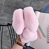 Omio for Moto G7 Play Rabbit Fur Case Soft Fluffy Furry Bunny Stylish Plush Rabbit Cover for Moto G7 Play Case Warm Big Ear Bling Crystal Rhinestone Bowknot Light Shell for Motorola G7 Play Case Pink