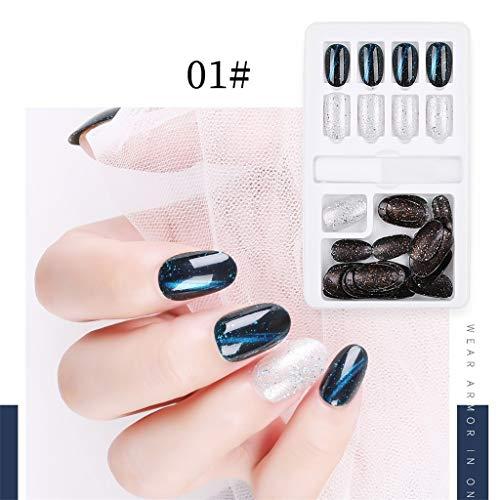 Janly Clearance - Parches para uñas con acabado de 30 unidades, en caja extraíble, uso repetido, de parches de uñas falsos, para mujeres, decoración de uñas en casa