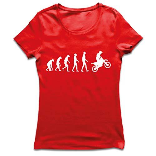 lepni.me Camiseta Mujer Evolución del Motocross Equipo de Moto Ropa de Carreras Todoterreno (Large Rojo Blanco)
