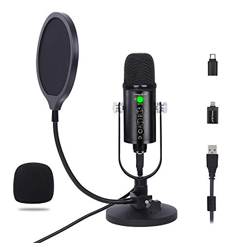 PROAR USB Microphone Condenser Computer PC Gaming Mic Podcast Microphone Kit for Streaming Recording Vocals Cardioid Studio Mic with Headphone Monitoring for MacOS,Windows,iPhone,Type-C Phone,Youtube