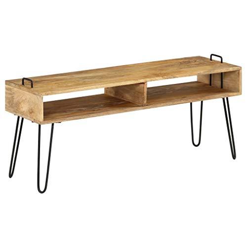 Festnight TV-Schrank | Industrial Fernsehtisch | TV Lowboard Tisch | Retro Fernsehschrank | Holz TV Board | Massives Mangoholz mit Stahlrahmen 110 x 35 x 45 cm