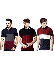 Leotude Men's Regular Fit Polo Multi Color T Shirt (Pack of 3)