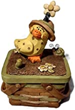 Blossom Bucket Easter Basket Covered Box with Duck Figure