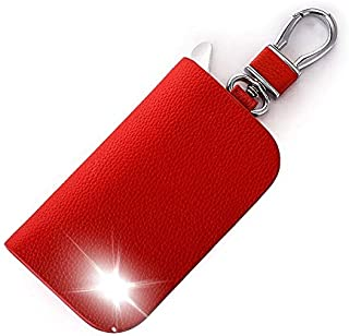 Leather Car Key Case Cover Key Wallet Bag Keychain Holder for SsangYong Rexton Musso XLV Tivoli Korando Rodius Actyon Accessory Color Name Red Size Whit VIP Logo