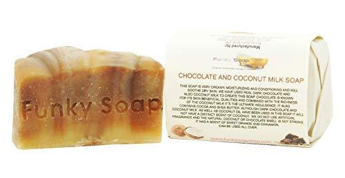 Funky Soap 1 stück Schokolade & Kokosmilch Seife 100% Natürlich Handgemacht aprox.120g