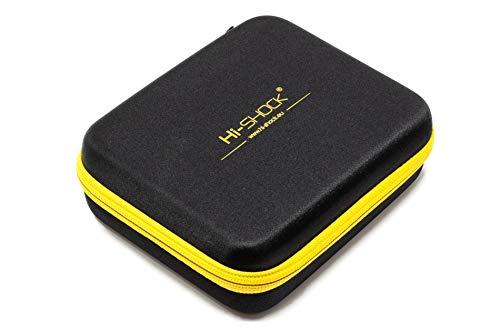 Hi-SHOCK Dampfer | Vapo Hardcase zur Aufbewahrung von Liquid, Vaporizer & Zubehör | Tragegriff Für Reisen - schwarz gelb - wasserabweisend | Multi-Bag | 19cm x 15cm x 6,5cm