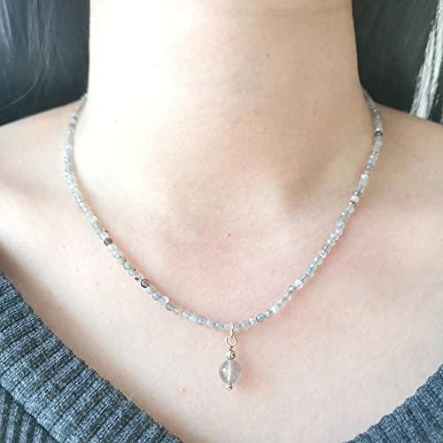 JIUXIAO Collar de Piedra Lunar de labradorita, Piedras Preciosas Naturales facetadas,Colgante de dijesRellenos de Oro de 14K, joyería de Regalo para Mujer