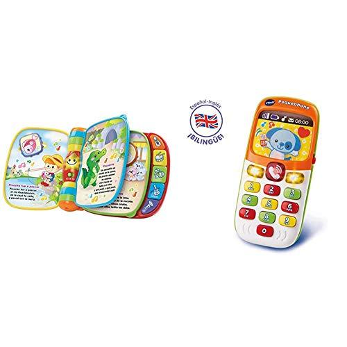VTech - Primeras Canciones, Libro Interactivo para bebé +6 Meses con Las Canciones Infantiles más Populares + Pequephone bilingüe, Juguete bebé +6 Meses, teléfono Infantil