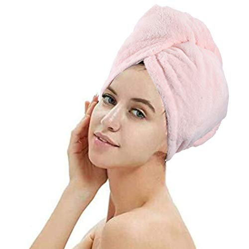Evazen Microfiber Hair Towel Wrap Super Absorbent Bath Hair Turban Set Fast Drying Hair Cap with Button for Women and Girls (Pink)