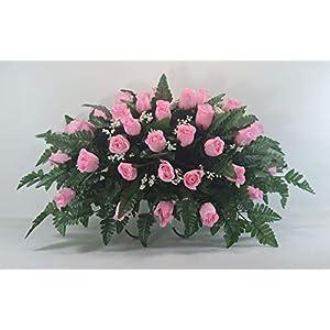 R21 Pink Rose Bud Cemetery Flower Arrangement, Headstone Saddle, Grave, Tombstone Arrangement, Cemetery Flowers