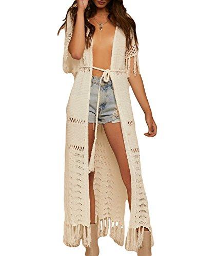 Bsubseach Mujer Kimono Cárdigan Sexy Beige Crochet Traje de Baño con Borla Cubrir Bikini Ropa de Playa Verano