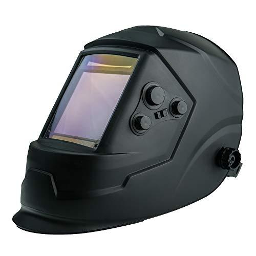 HurthAG ADF-V7 - Casco de soldadura automático con campo de visión, incluye 3 cristales de repuesto, máscara de soldar solar, casco automático True Color