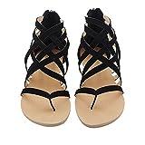 Sandalias De Las Mujeres Ahueca hacia Fuera New Roman Toe Clip con Tacon Plano para Zapatos De Mujer,Black,Treinta Y Seis
