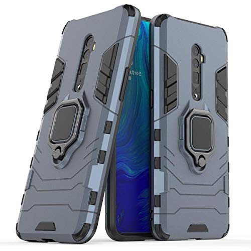 FanTing Oppo Reno 10x Zoom Cover,Hybrid Dual Layer TPU+PC Custodia, Durevole Manicotto Protettivo Antiurto,con Supporto per Cellulare,per Oppo Reno 10x Zoom-Blu Scuro