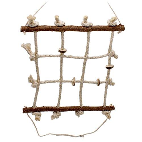 Vogelgaleria® Spielzeug für Wellensittich und Nymphensittich I Vogel Kletter Spielplatz aus Naturholz und Sisal Seil I Vogelspielplatz Hängebrücke Vogelkäfig Zubehör 40 x 40 cm