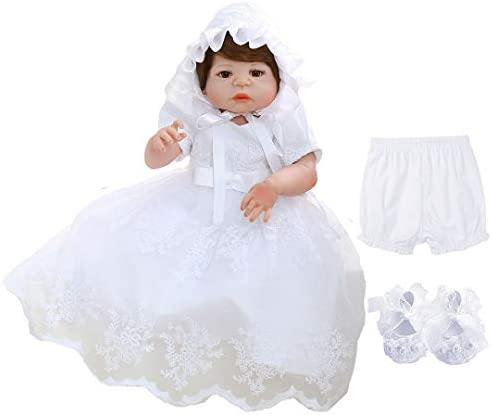 Bow Dream Baby Girls 4Pcs Christening Baptism Dress Special Occasion Dresses Formal Party White product image