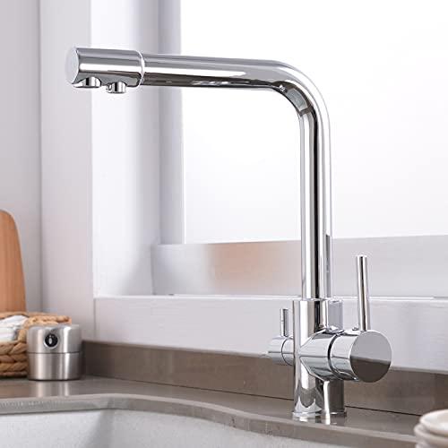 Grifo para fregadero de baño, 31 x 21 cm, grifo de cocina de agua con punto de latón purificador de doble rociador de agua filtrada