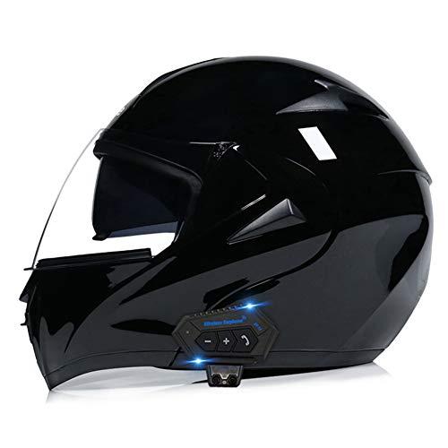 Cascos modulares Bluetooth Integrado Casco Moto Integral para Motocicleta, Personalidad Fresca Casco con Doble Visera para Montar Al Aire Libre Apto para Cruceros Locomotora De Ciclomotor Chop