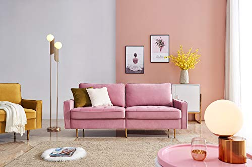 JULYFOX Pink Velvet Fabric Sofa Couch, 71 inch Wide Mid Century Modern Living Room Couch 700lb Heavy Duty