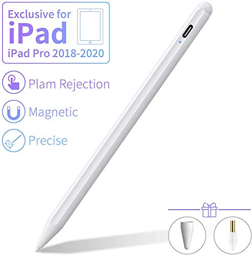 MPIO Stylus Pen 2nd Gen with Palm Rejection for Apple iPad,Smooth Penil Tip,Magnetically Attaches to iPad Pro 11(1st/2nd)/Pro 12.9(3rd/4th),Compatible with iPad 6th/7th/Air 3rd/Mini 5th,White