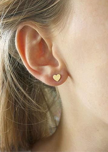 HERZ GOLD EDELSTAHL STECKER goldfarbene Ohrringe, Liebe, Herzen, antiallergisch, Stecker